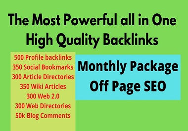 I will create monthly Off Page SEO service with high authority backlinks
