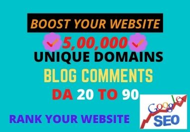 I will do 5, 00,000 unique domains blog comments SEO backlinks