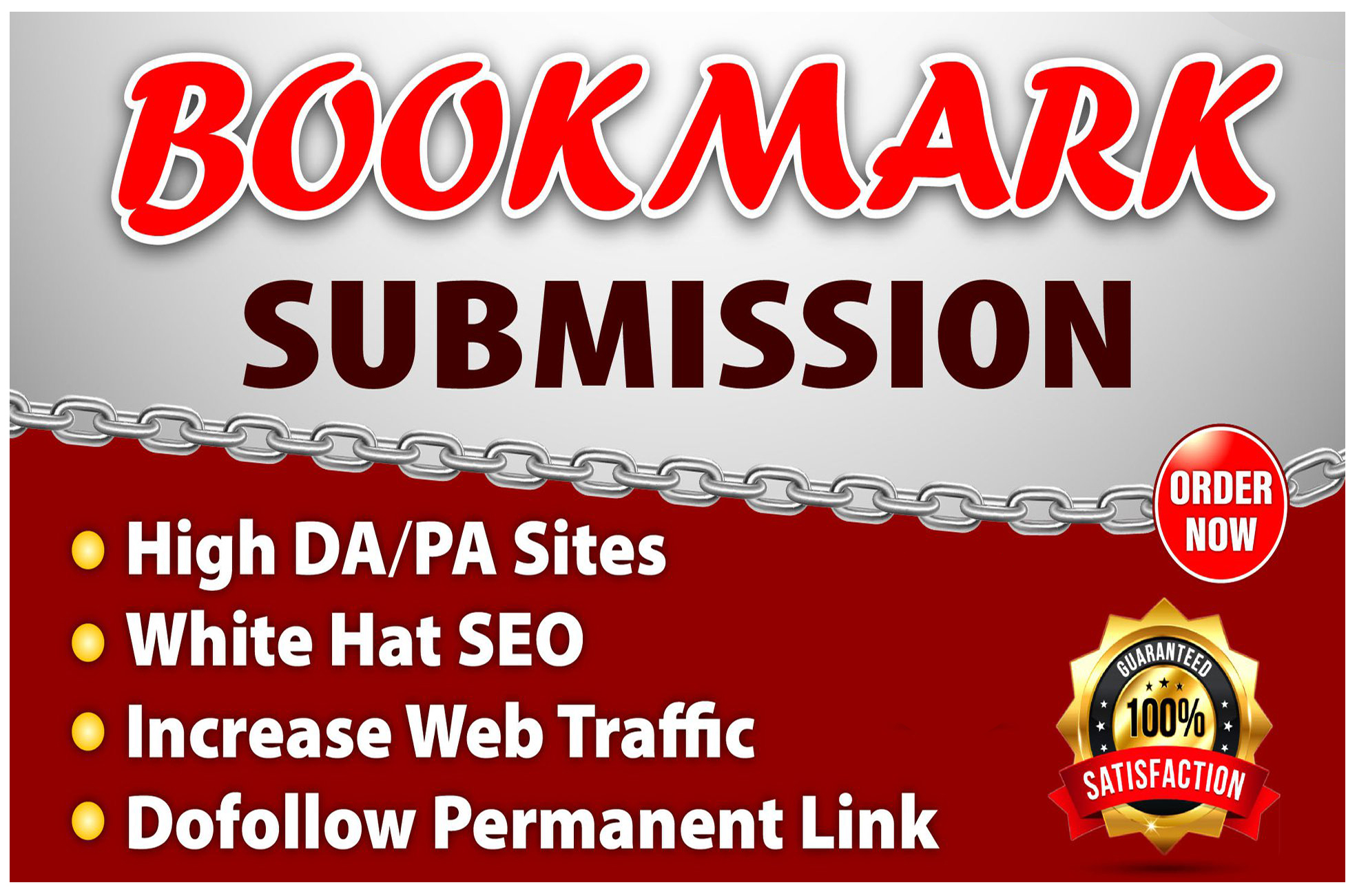 I will manually create 100 bookmarking on high da backlinks