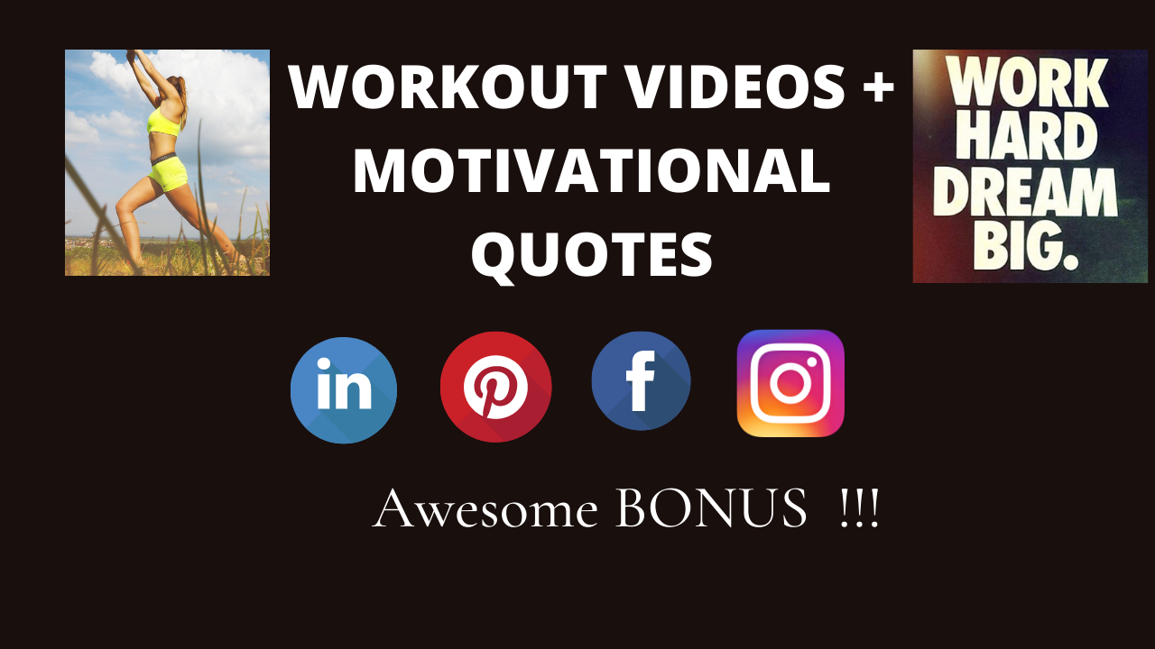 I will send you 3000+ WORKOUT VIDEOS and FITNESS MOTIVATIONAL QUOTES for Social media