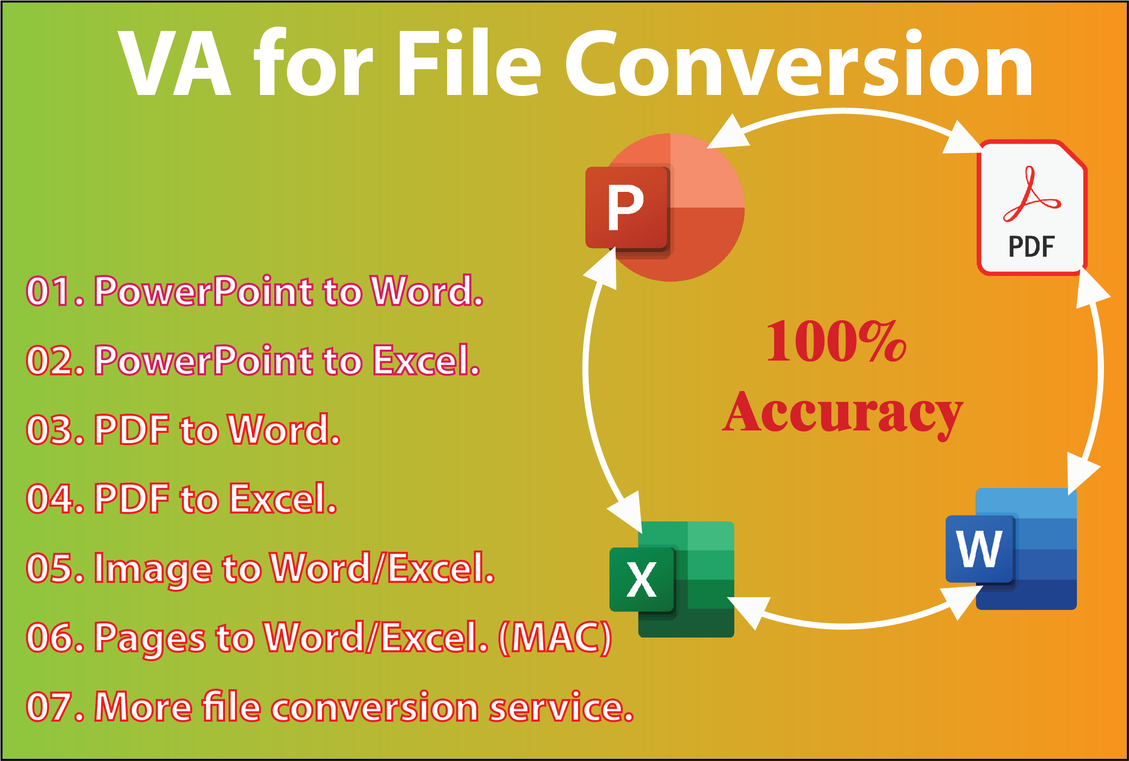 I can make pdf form and file conversion PDF to Word,  Excel,  PowerPoint,  Pages,  AI,  CVS,  PSD