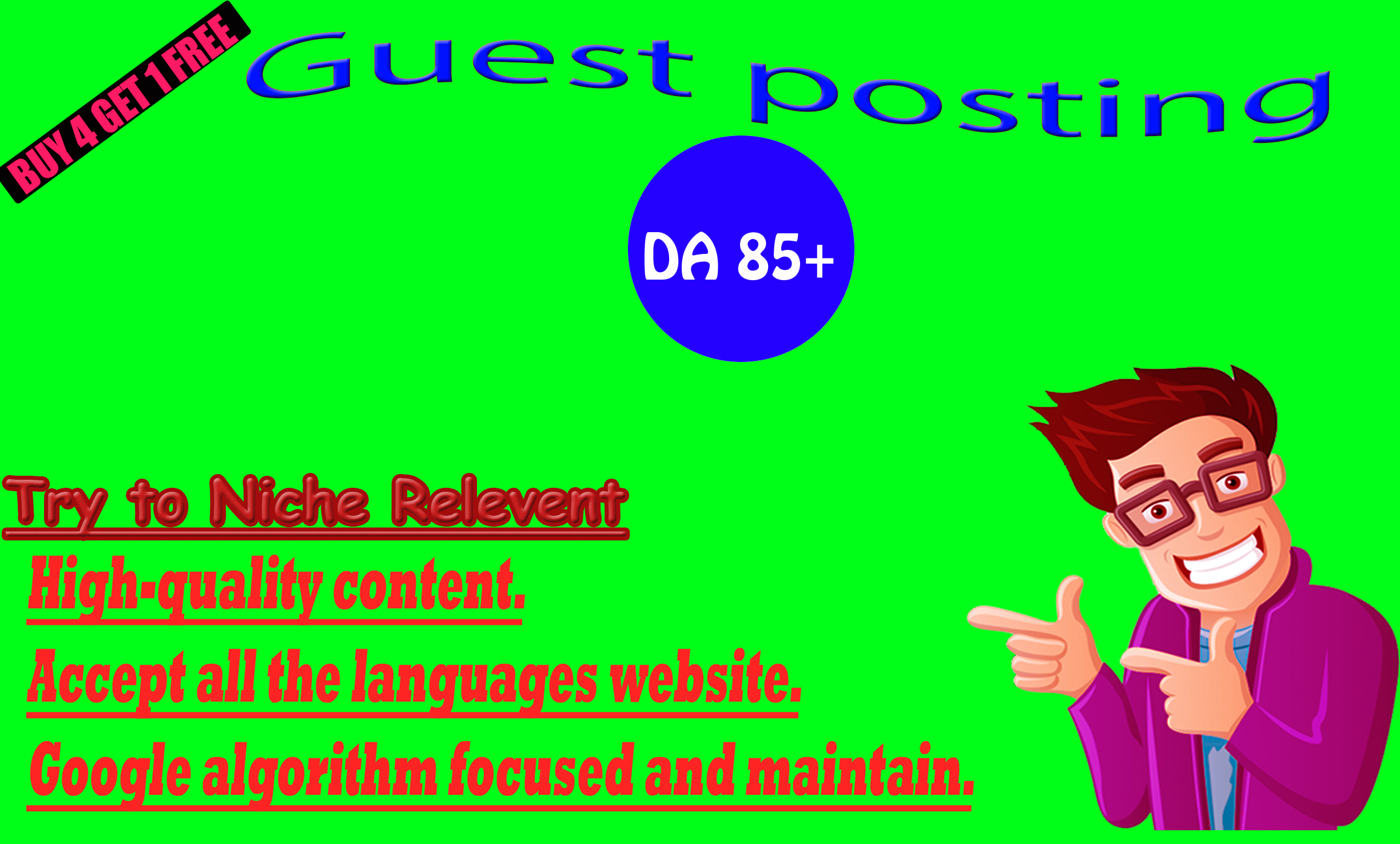 I will write and publish 20 guest post on High DA website