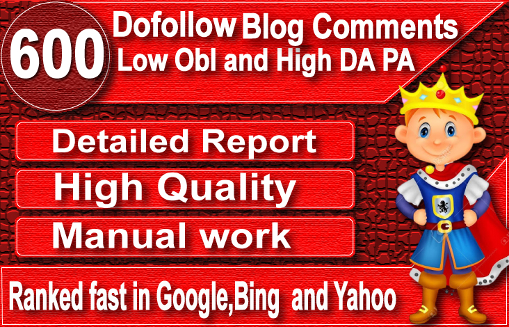 I will provide 600 dofollow blog comment backlinks on high da sites