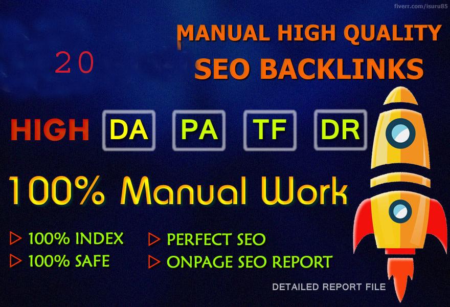 Do 20 manual high domain authority SEO profile backlinks