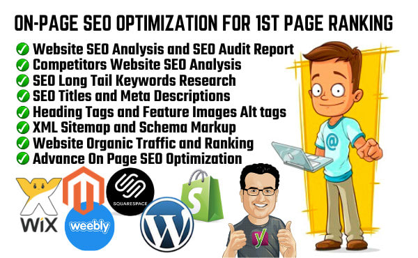 I will do on page SEO optimization for wordpress,  wix,  shopify and magento store