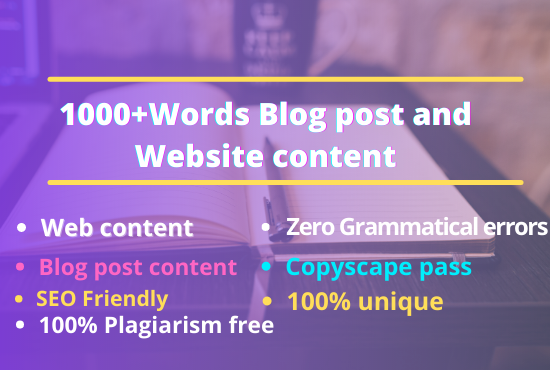 I will write 1800+ words SEO friendly Blog post and website content writing that you will love.