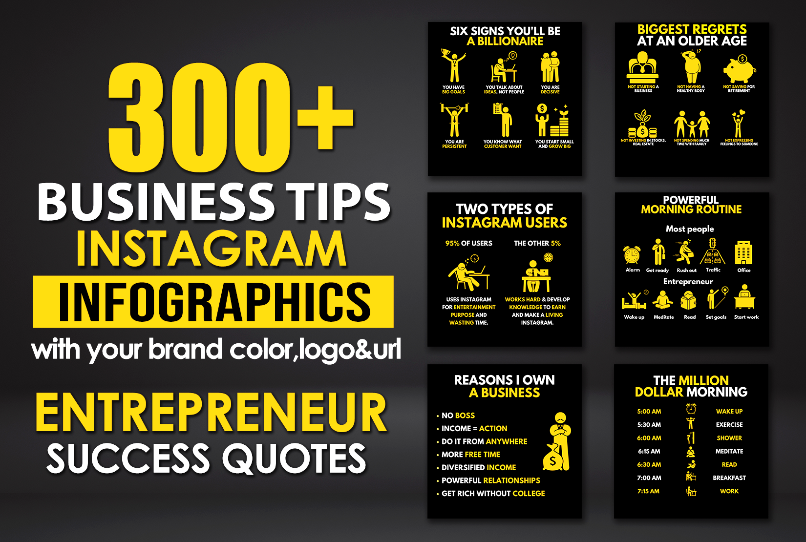 300 Business success tips infographics for instagram