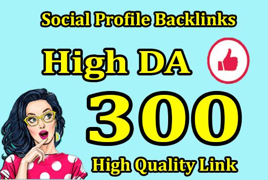 Do 300 social media profiles for high da pr SEO backlinks