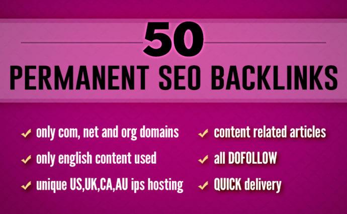 I will create 50 permanent dofollow SEO backlinks for google ranking