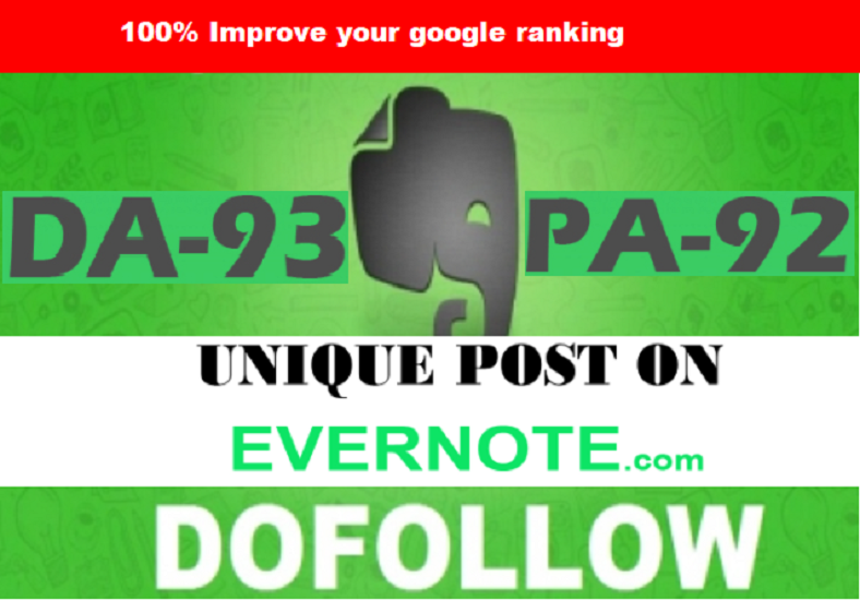 I Will Write And Publish A Guest Post On evernote. com with dofollow link