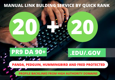 I will manually create 20 Pr9 + 20 Edu/Gov Dofollow DA 90+ SEO profile backlinks