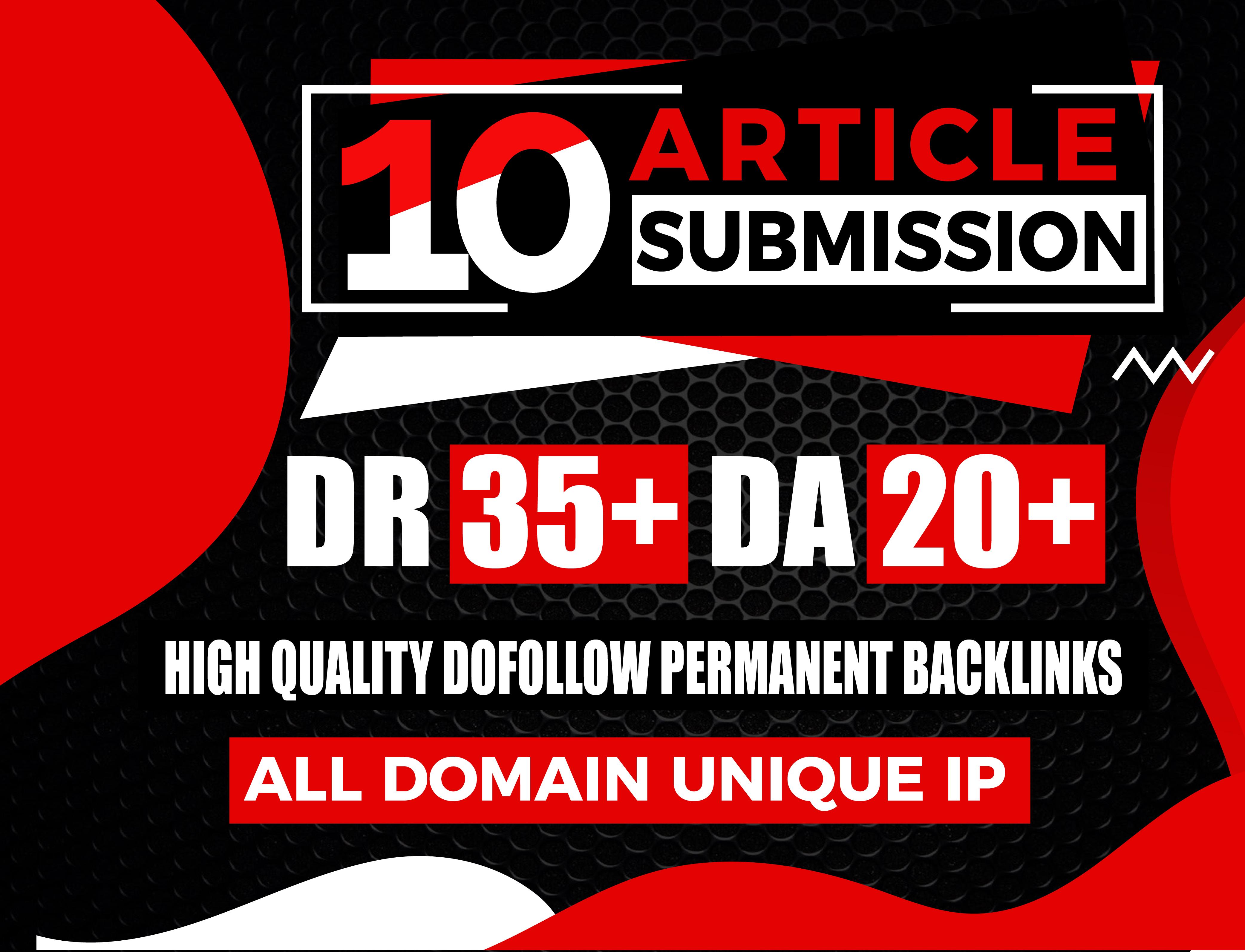 I will provide 10 Article Submission High DA PA