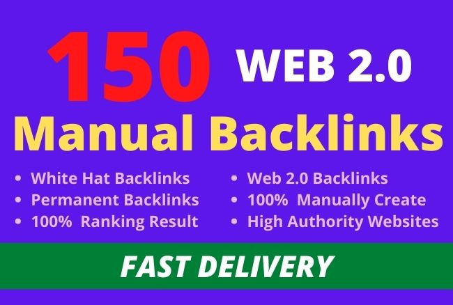 I will manually create 150 web 2 0 backlinks with contextual links