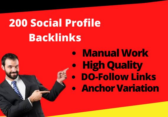 I will provide 200 high domain authority social profile backlinks