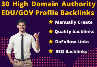 I will provide you 30 high domain authority EDU/GOV backlinks