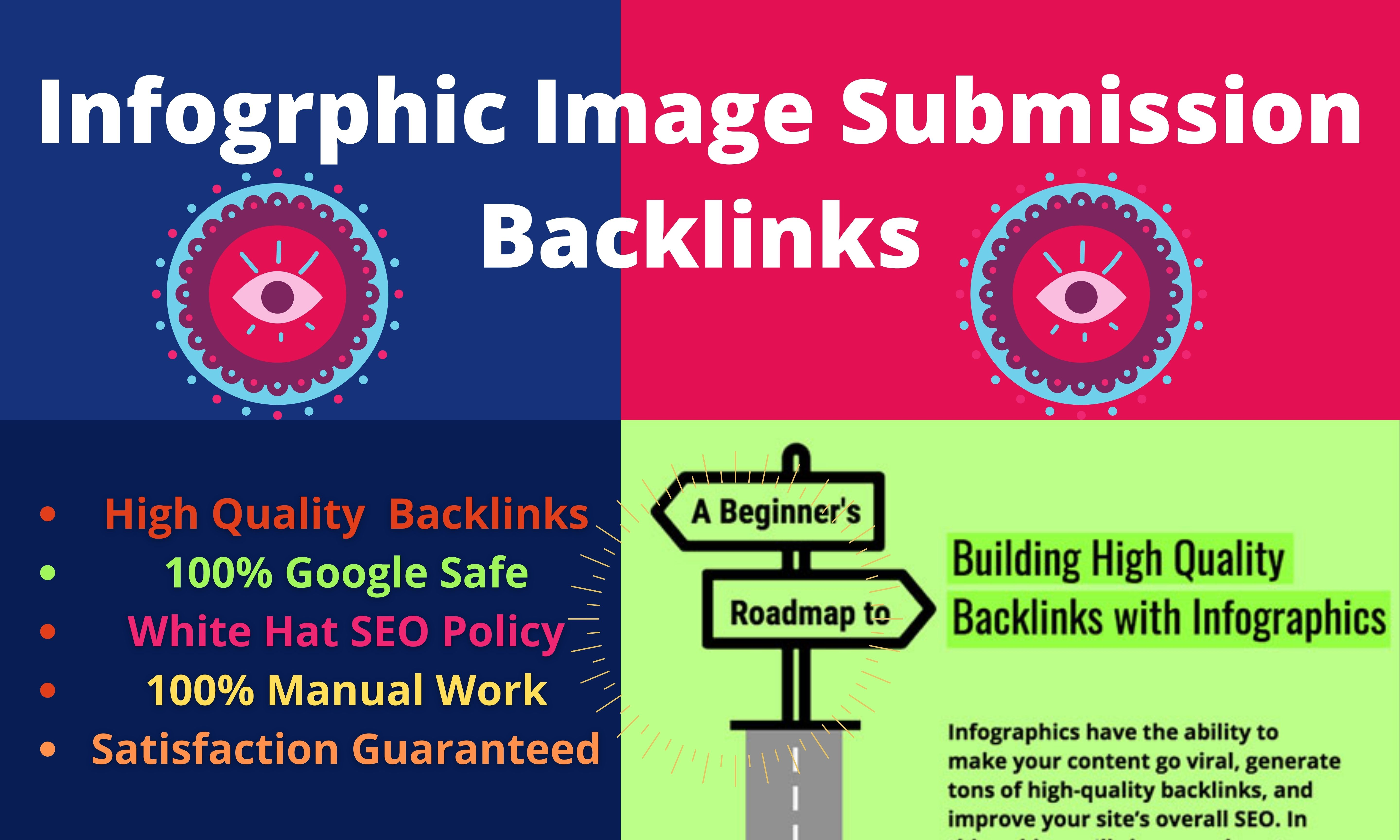 25 info graphic submission High Authority Permanent Low spam score website white hat seo backlinks