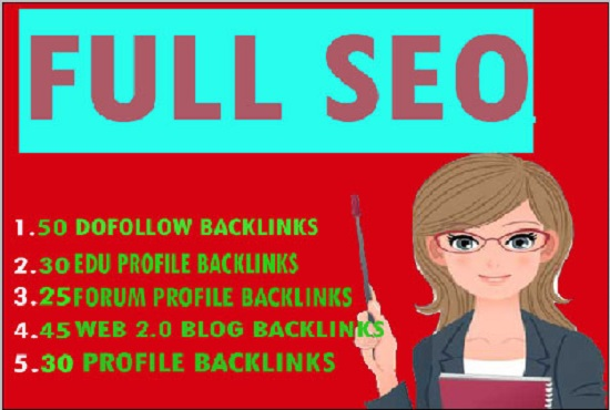50 dofollow 30 edu gov 25 forum profile 45 web 2 0 30 profile backlniks