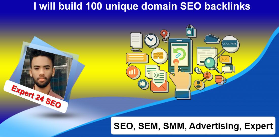 I will build 100 unique domain SEO backlinks