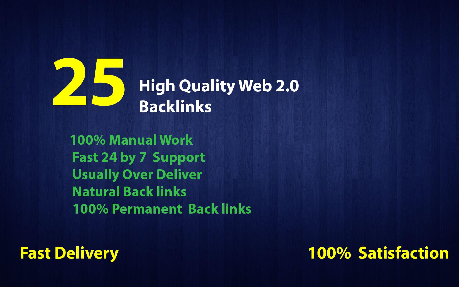 I will Create 25 Best High DA Do follow Web2.0 Blog Backlinks for Your Website