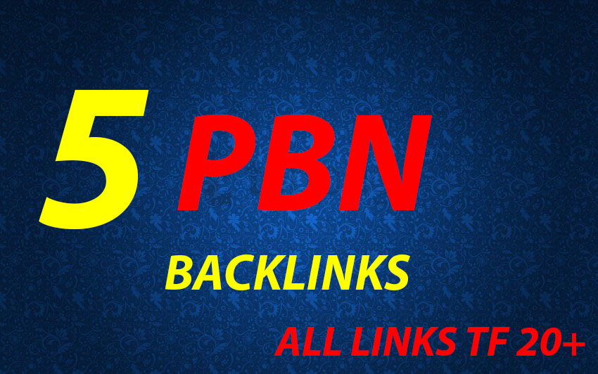 I will Make 5 High DA PA CF TF Homepage PBN Backlinks for your website Ranking