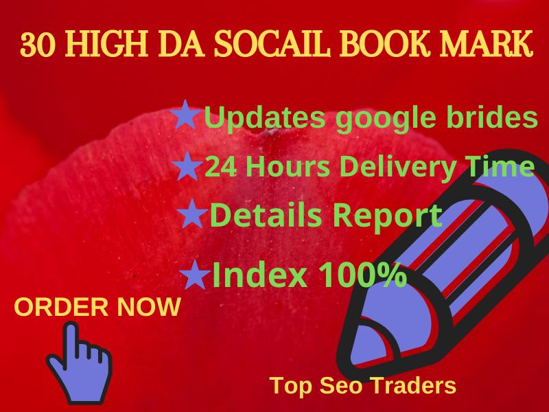 I will do 30 social bookmarking SEO backlinks for google ranking