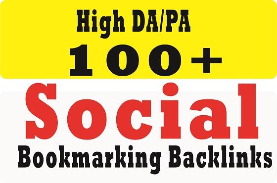 provide 100+ social bookmarking on high da backlinks