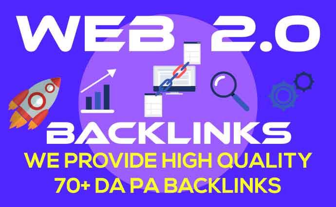 Top Rank Google 70 High Quality WEB 2 0 Do follow Backlinks Service