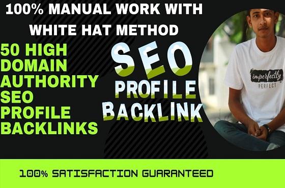 I will create 50 high domain authority SEO profile backlinks