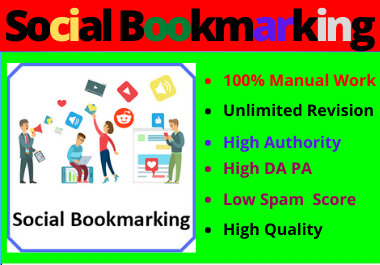 40 Social Bookmarks High Authority Permanent Unique Manual Backlinks for your Website