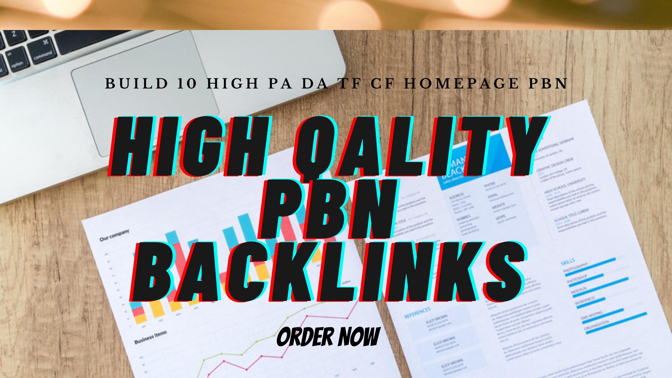 I Will do High DA DR PA homepage PBN Backlinks - Permanent Do follow links