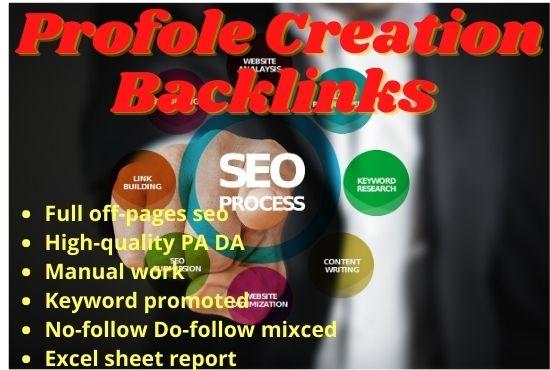 I will create 50 PA70+ DA70+ Do-follow No-follow profile backlinks