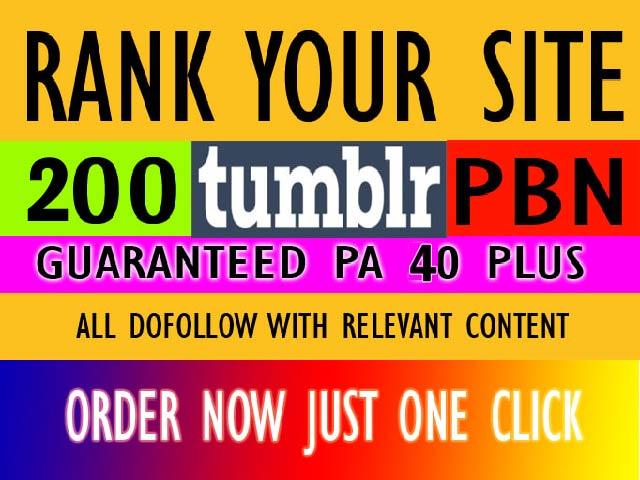 Create rank top on gooogle 200 tumblr pbn backlinks for your website