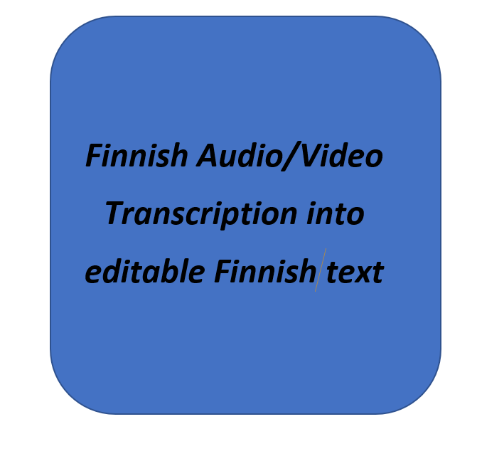 i will transcribe your Finnish audio video files into editable Finnish text