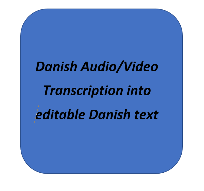 I will transcribe your Danish audio video files into editable Danish text