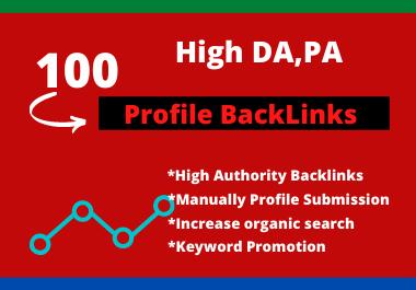100 Manually High DA, PA Updated Profile backlinks 2021