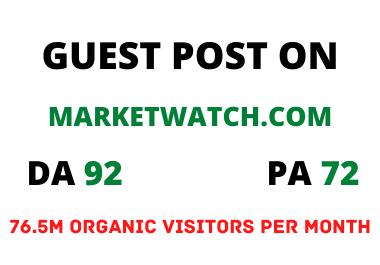 I will guest post on marketwatch DA 92 dofollow backlinks