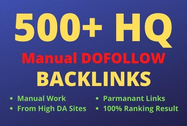I will build 500+ HQ manual dofollow backlinks