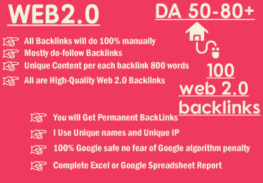 I will create 100 web2 contextual backlinks from high da platforms