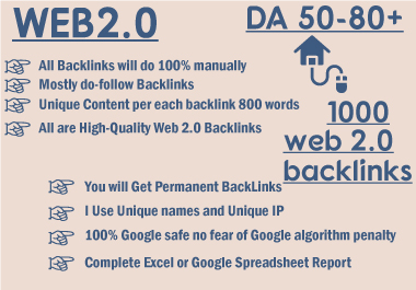 I will manually create 1000 high da dofollow super web2.0 backlinks