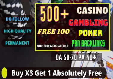 I Will Build 500+ permanent web2.0 Backlinks for Casino,  Gambling,  Poker,  Judi Websites