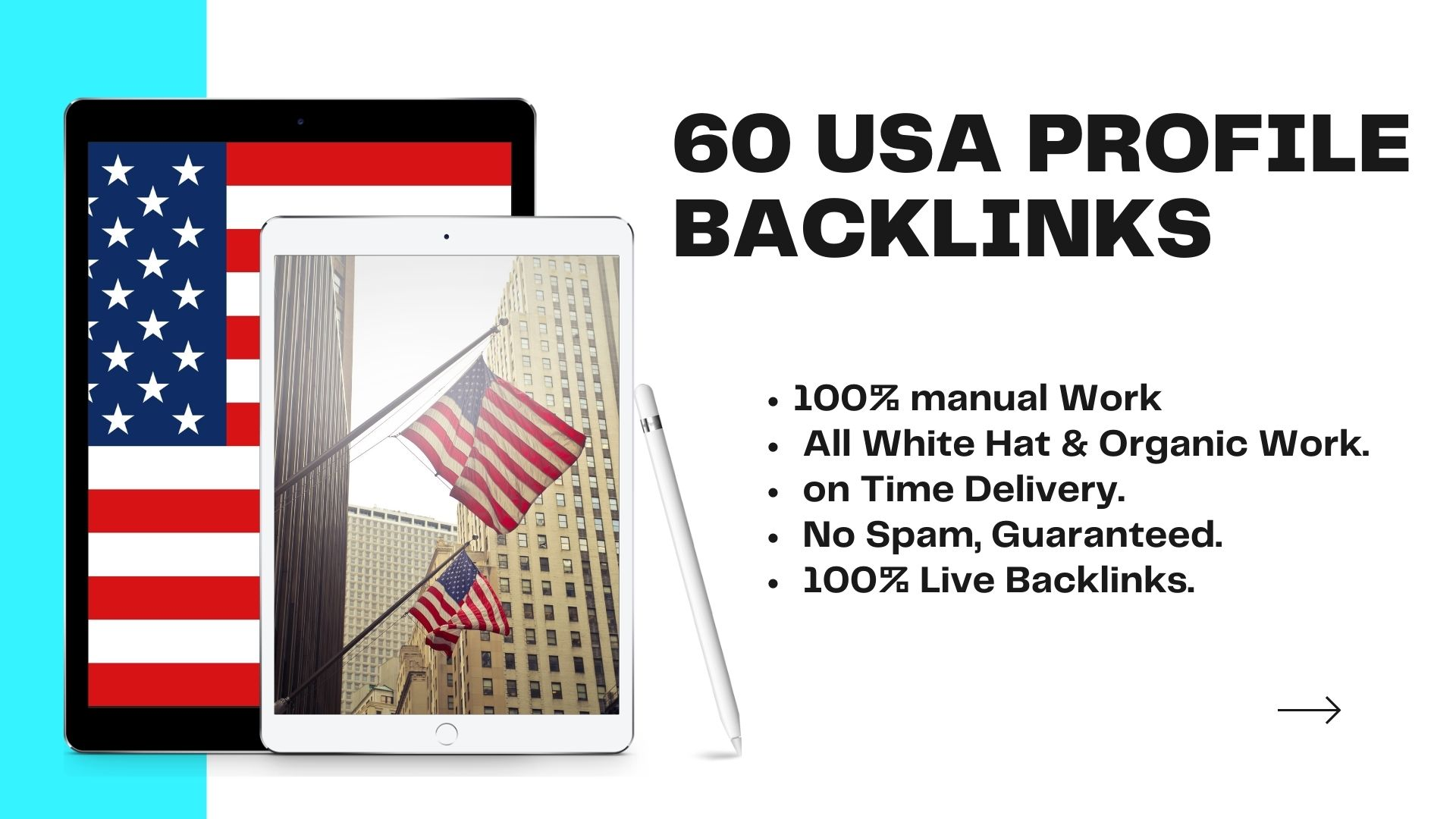 Create USA 60 high DA-PA profile backlinks on your website.