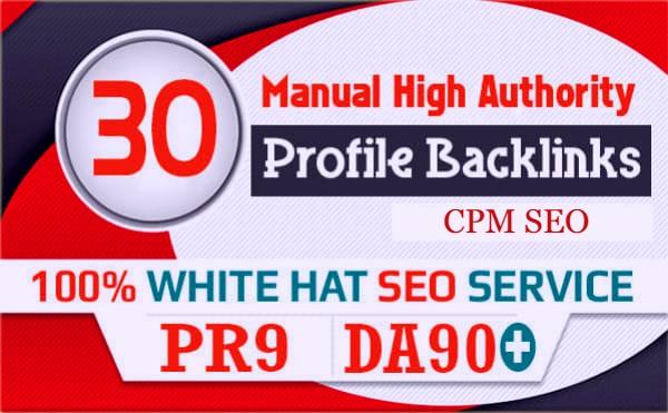 Create 30 Manual Profile Backlink on High DA