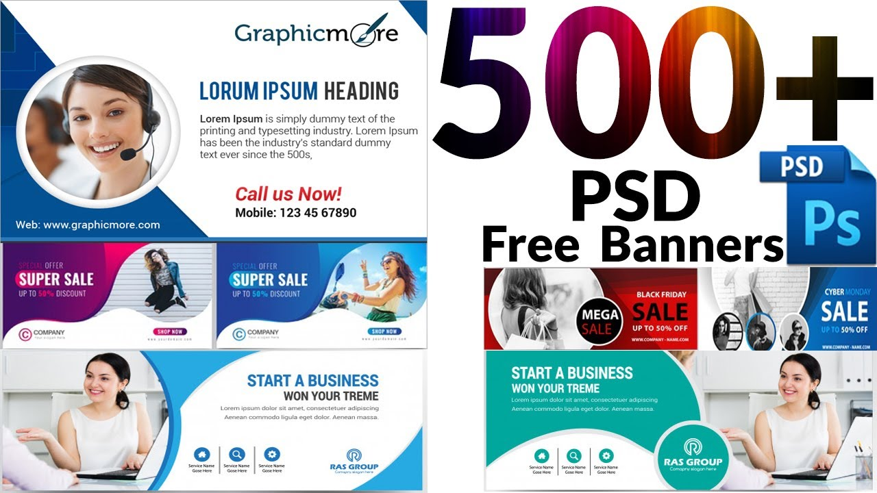 I will provide 500 professional banners ads and poster pack in PSD templates