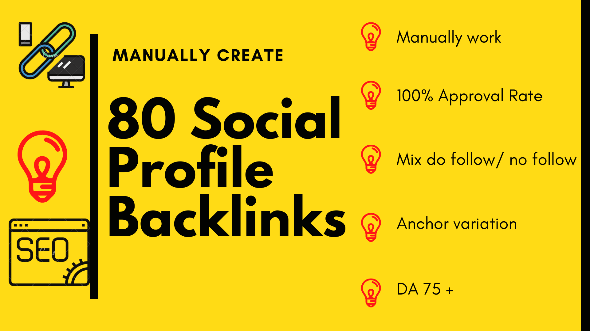 80 manually create high authority social profile backlinks