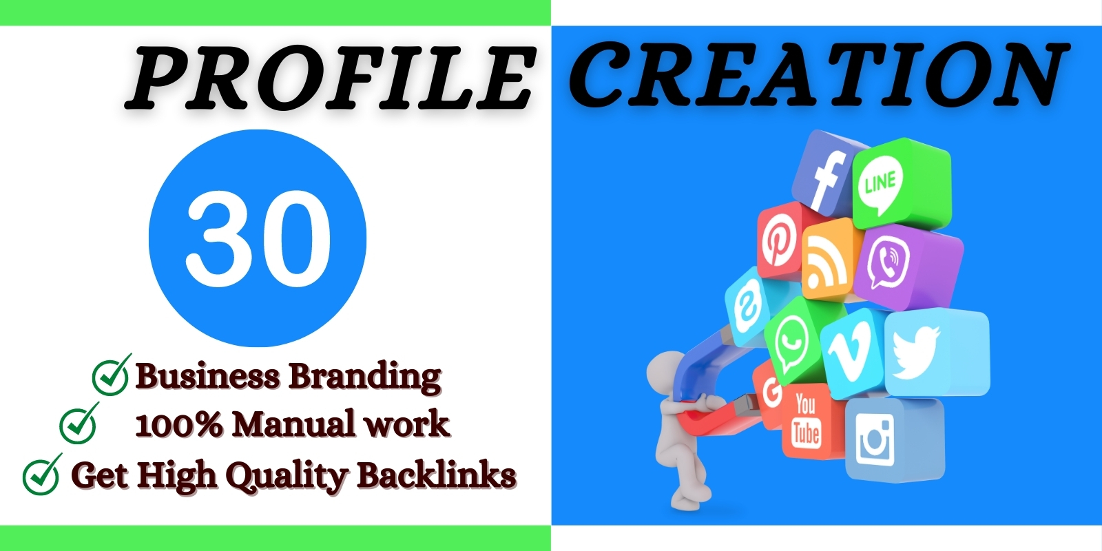 I will do 30 social media profile and page creation