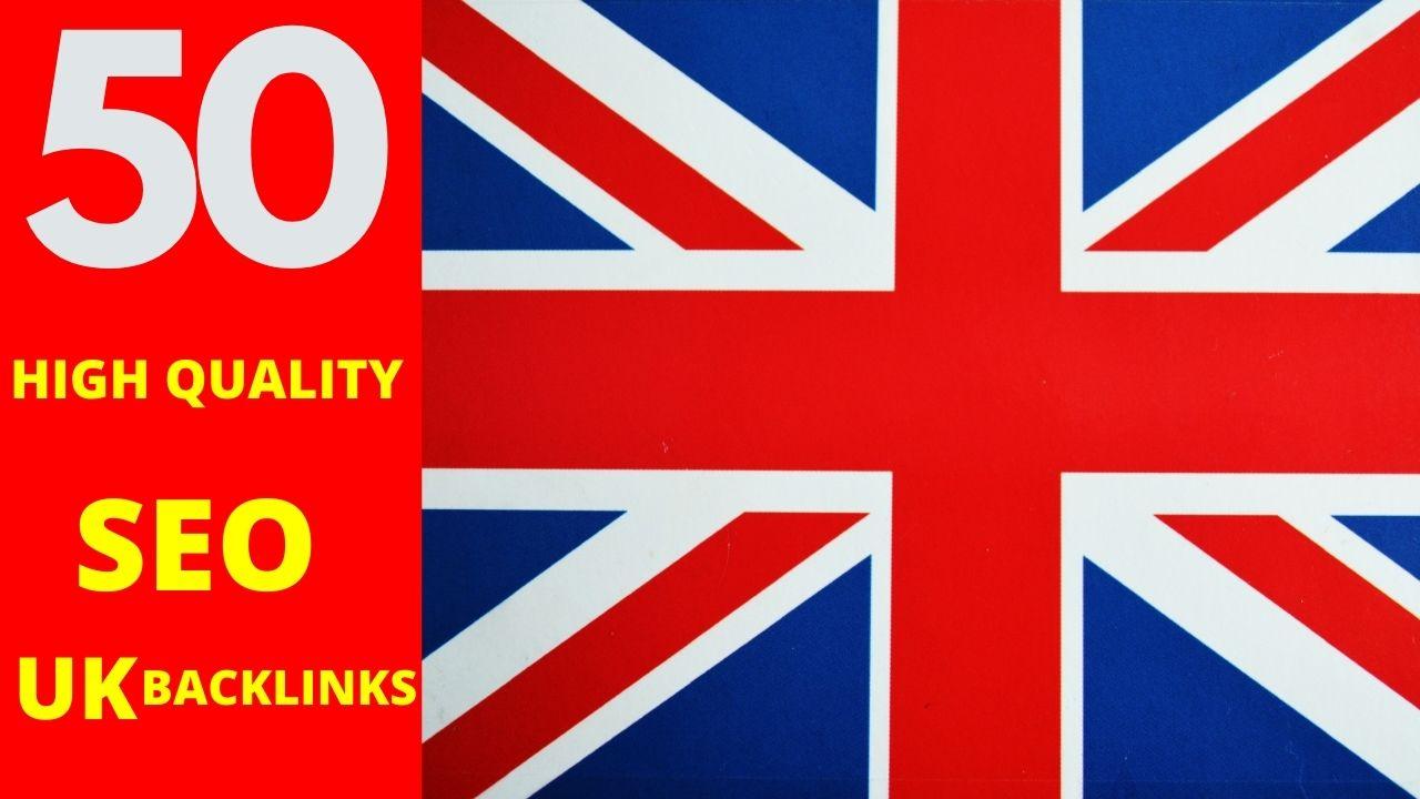 Build 50 high quality SEO uk backlinks manual link building