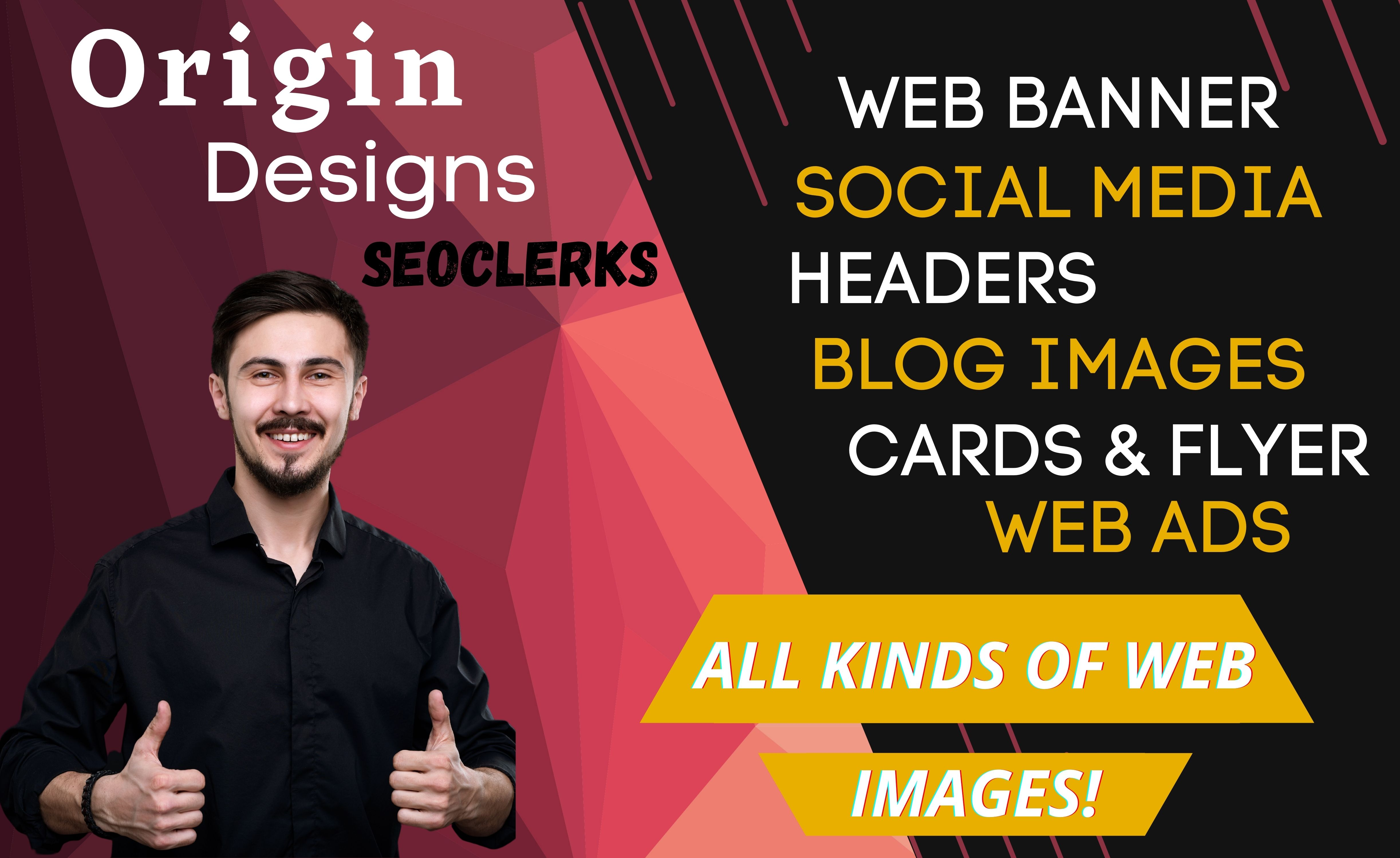 I will design website banner ads,  header image,  and blog image