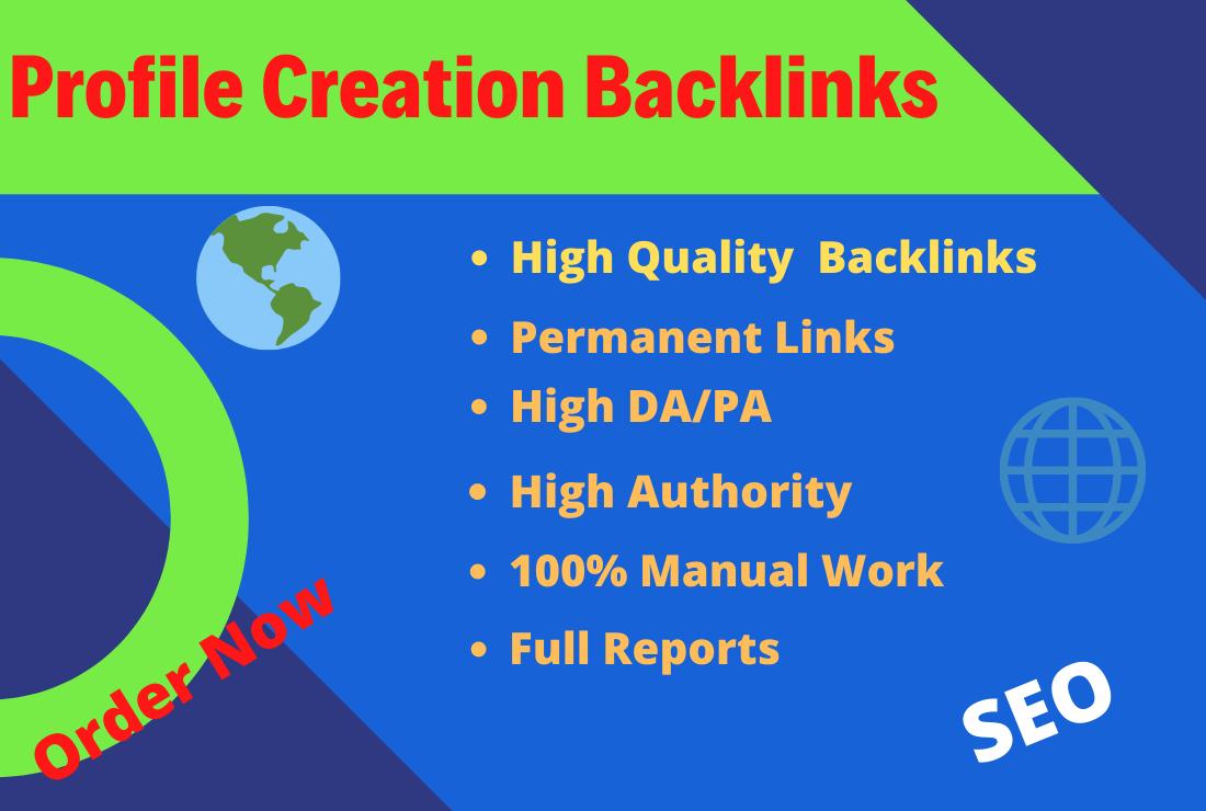 I will create 50 HQ social profile creation backlinks