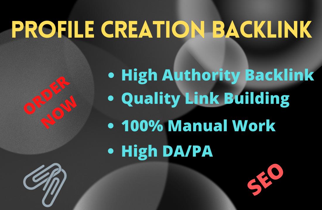 I will provide 200 High Quality DA/PA profile creation backlinks.