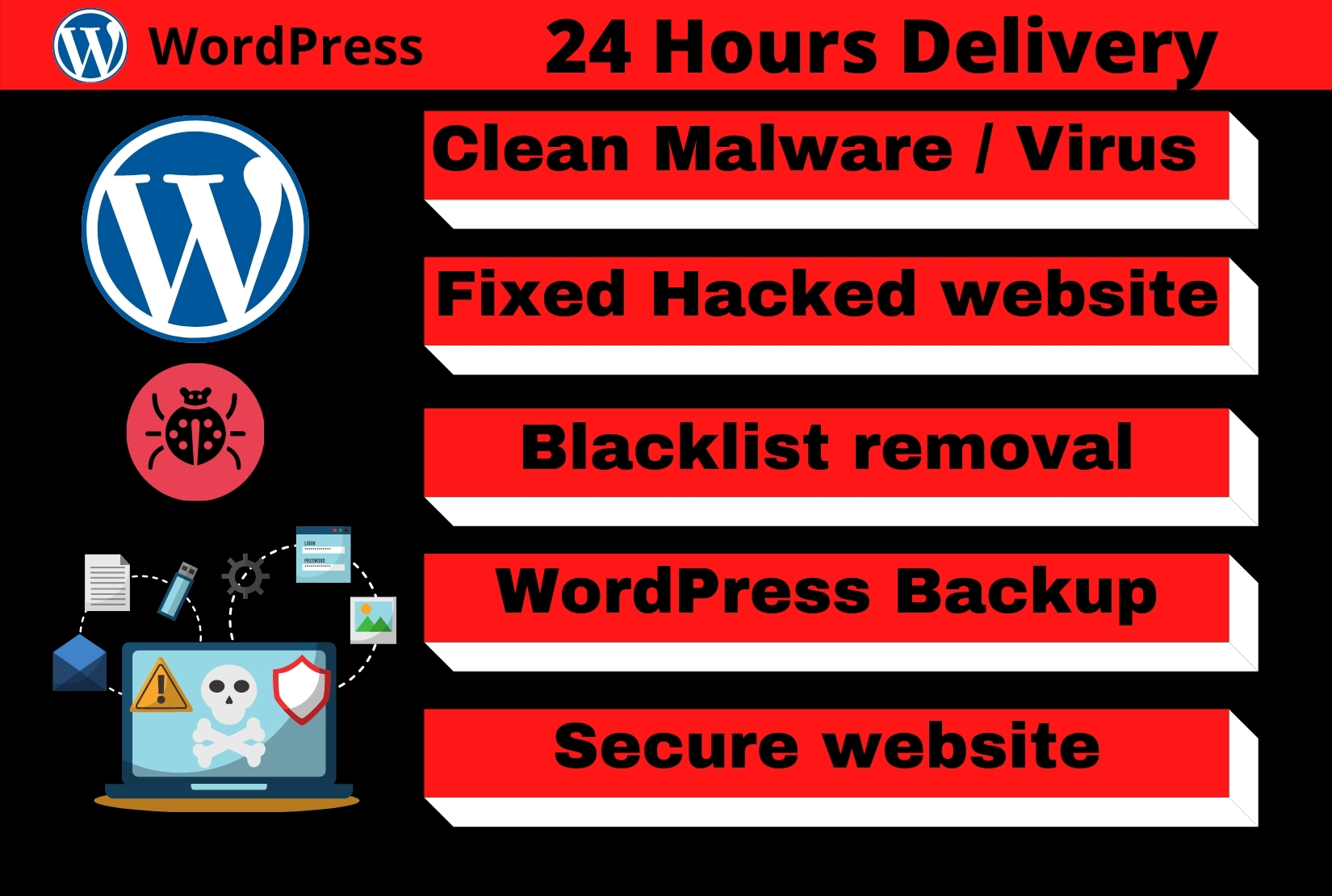 do wordpress malware removal, fix hacked wordpress website